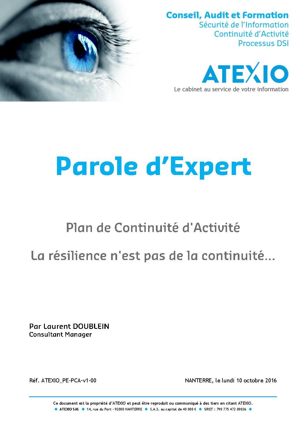 Plan de Continuité d'Activité : la résilience n'est pas de la continuité…