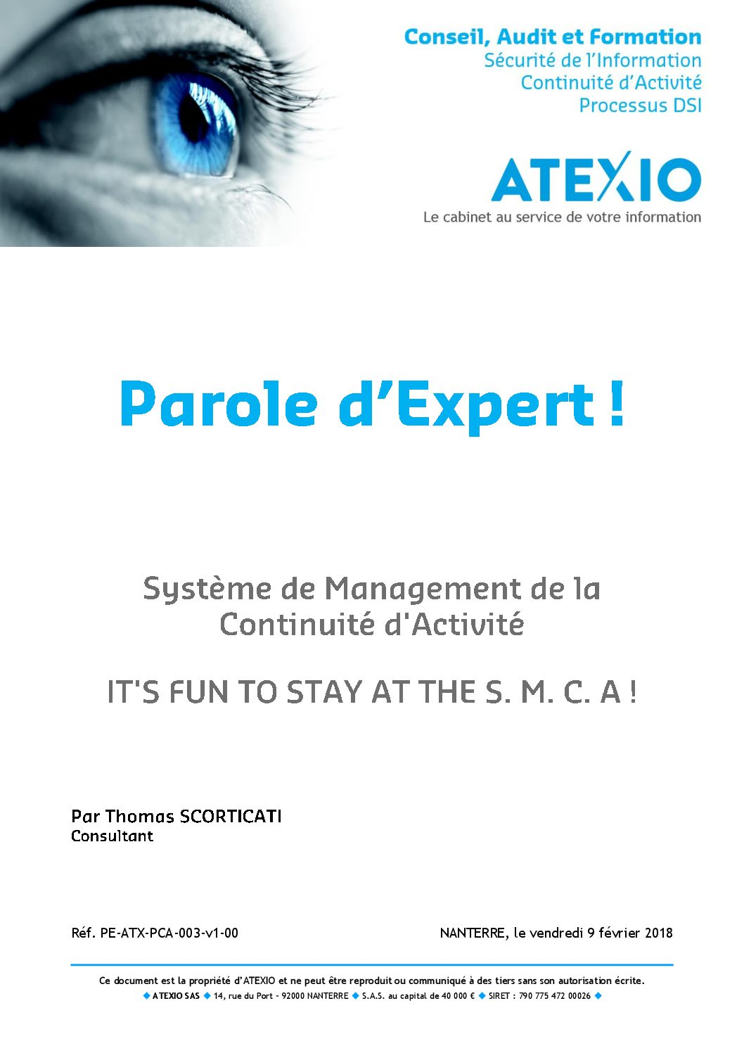 Système de Management de la Continuité d'Activité – It's fun to stay at the S. M. C. A.!